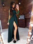 Женское элегантное вечернее платье в пол с разрезом и кружевными рукавами (в расцветках), фото 5