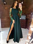Женское элегантное вечернее платье в пол с разрезом и кружевными рукавами (в расцветках), фото 7
