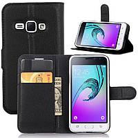 Чехол-книжка Litchie Wallet для Samsung Galaxy J1 2016 (J120) Черный