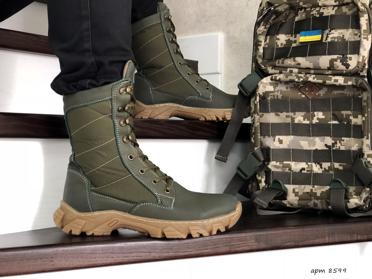 Армійські черевики-берці зимові нубук,на хутрі темно зелені