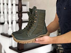 Армійські черевики-берці зимові нубук,на хутрі темно зелені, фото 2