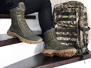 Армійські черевики-берці зимові нубук,на хутрі темно зелені, фото 3