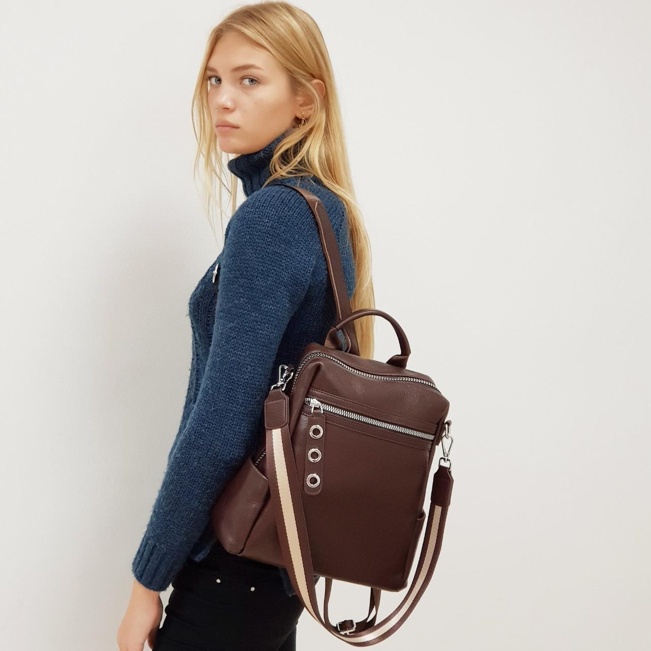 Рюкзак  женский из натуральной кожи городской  коричневый
