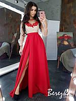 Женское элегантное вечернее платье в пол с разрезом сеткой и цветочной нашивкой (в расцветках)