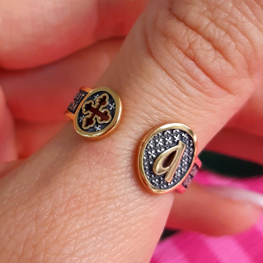 Срібне кільце-оберіг з молитвою Ангелу Хранителю - Кільце на великий палець Ангел Хранитель з позолотою