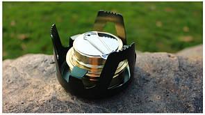 Туристическая спиртовка с регулятором пламени. Печь с подставкой. Туристична спиртівка з міді. зеленый