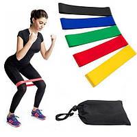 Резинка для фитнеса и спорта  (эластичная лента эспандер) набор 5 шт + Чехол в комплекте