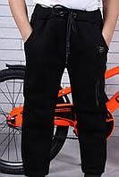 Детские тёплые спортивные штаны для мальчика на флисе3-8 лет, черного цвета