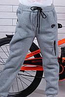 Детские тёплые спортивные штаны для мальчика на флисе3-8 лет, серого цвета