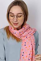Шарф Каролина листочки розовый 140*45 (N-17-023-WJ)