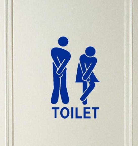 Синяя наклейка на дверь туалета 11*18см
