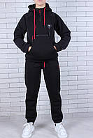 Подростковый спортивный тёплый костюм на флисе для мальчика 9-14 лет,черного цвета