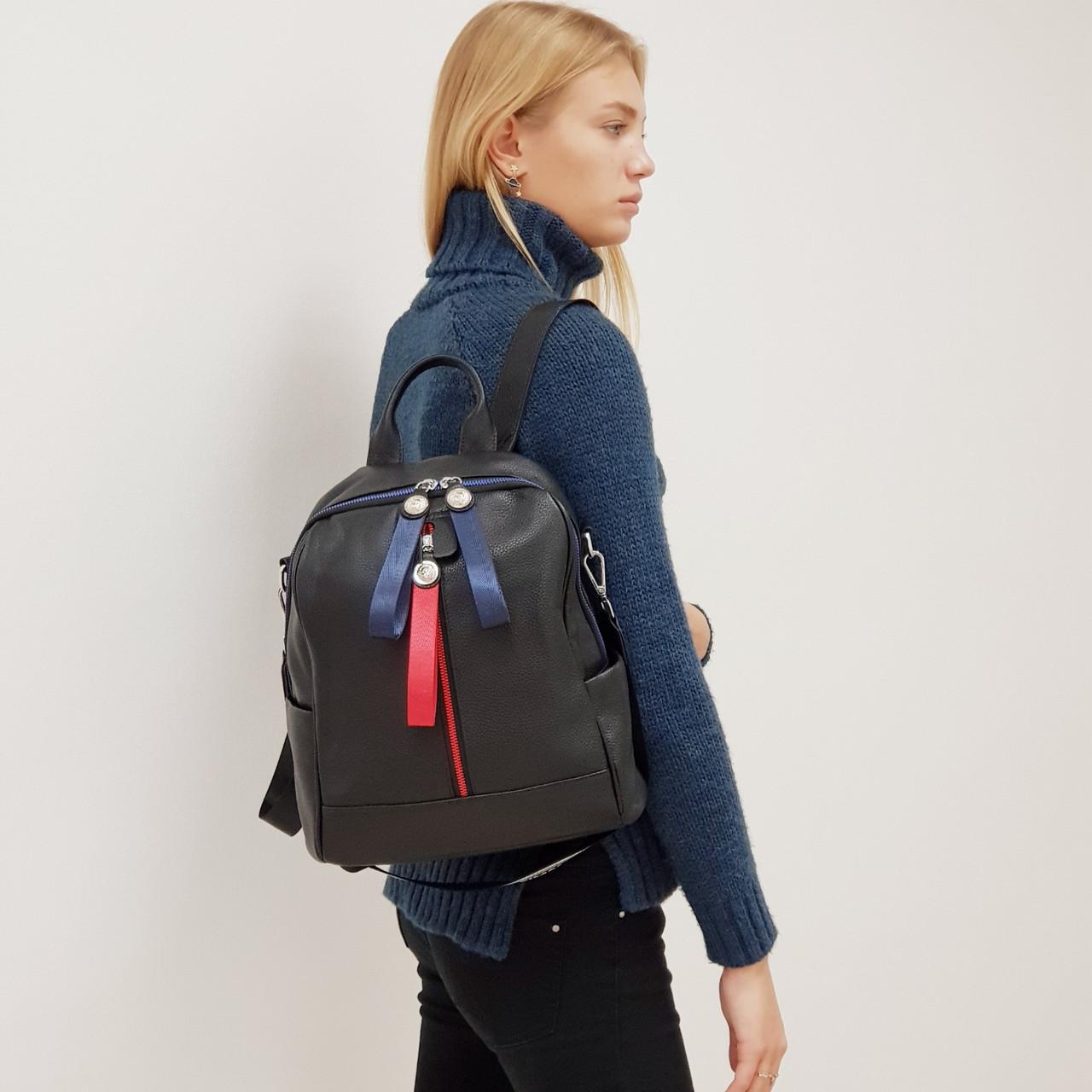 Рюкзак женский из натуральной кожи городской черный