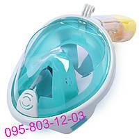 Маска для плавания Зеленая (S/M) FREE BREATH