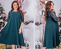 Потрясающее нарядное женское платье свободного кроя с гипюром до 64-го размера зеленое