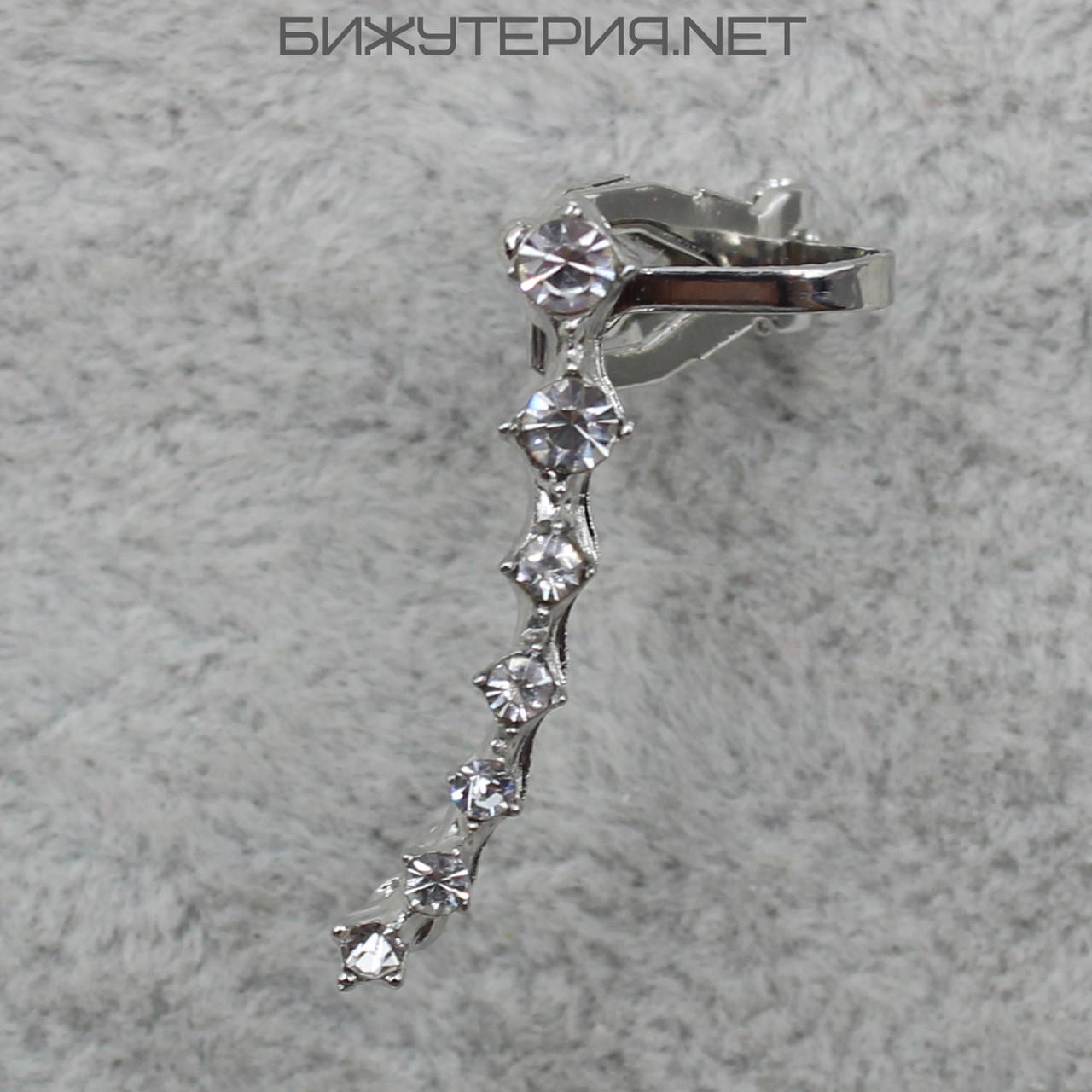 Серьги Каффы JB с кристаллами белого цвета металл серебро - 1064816963