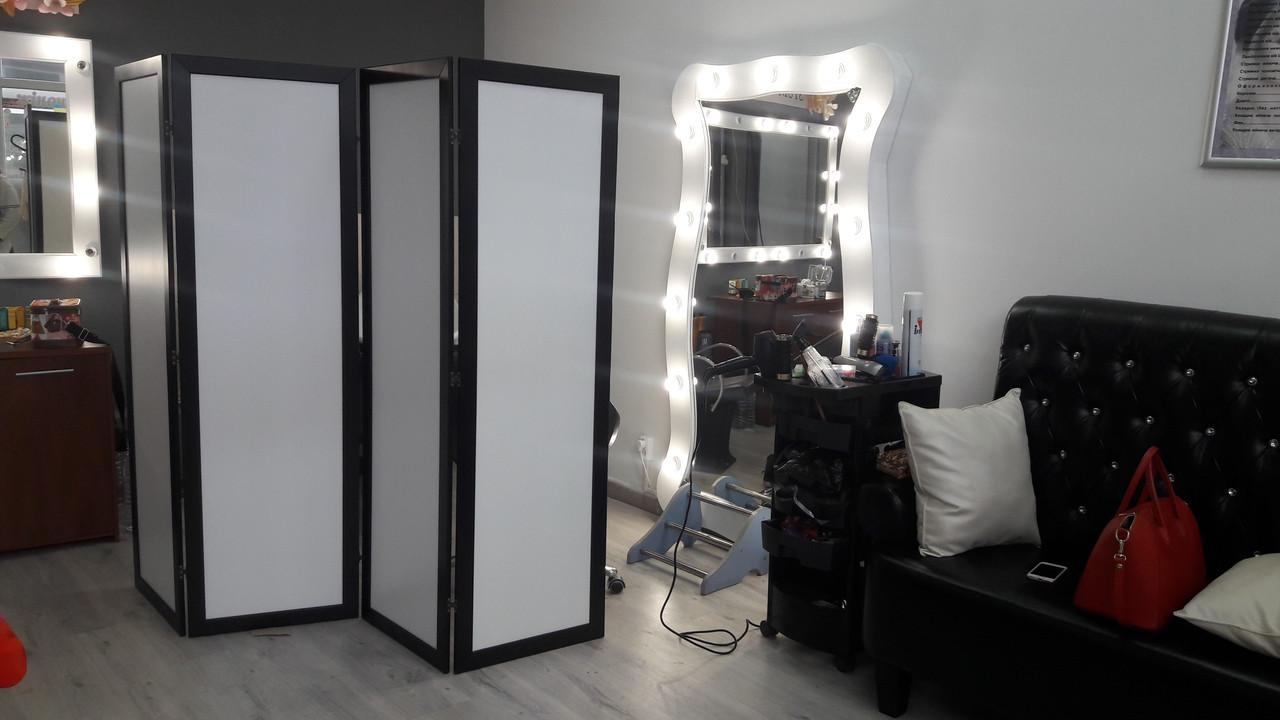 Ширма ДекоДім Економ на 4 секції 240х170 см, чорно-біла (DK11-10)