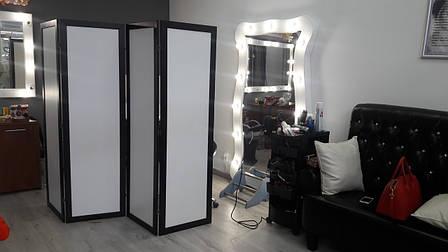 Ширма ДекоДім Економ на 4 секції 240х170 см, чорно-біла (DK11-10), фото 2