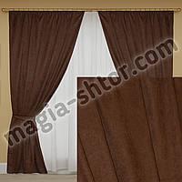 Готовые шторы темно-коричневые. Микровельвет. Комплект: 2 шторы+2 подхвата
