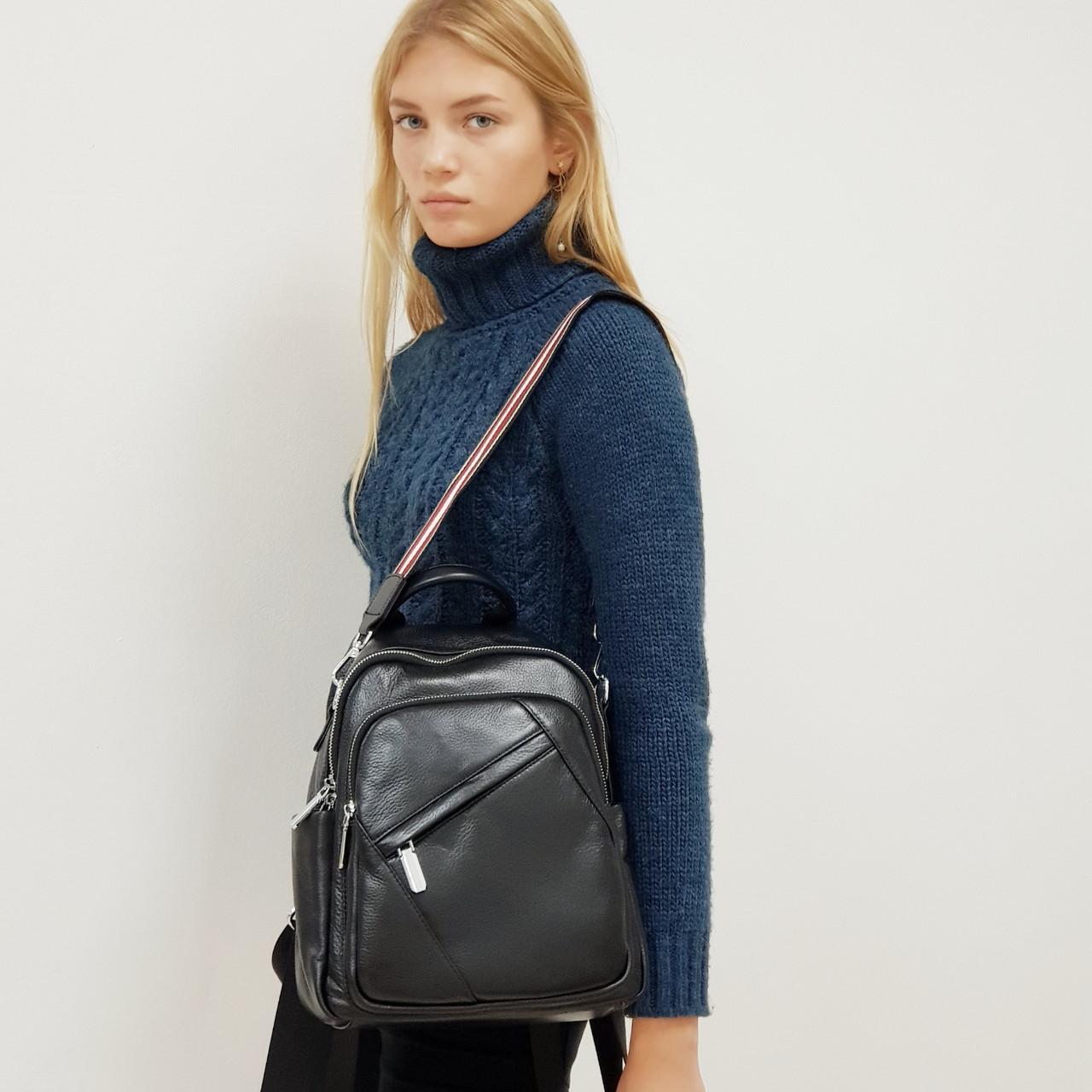 Стильний чорний рюкзак-сумка з натуральної шкіри