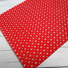 """Екокожа з глітерним візерунком """"ромбики"""", 30х20 см, колір червоний"""