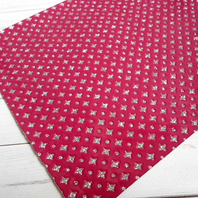 """Экокожа  с глиттерным узором """"ромбики"""", 30х20 см, цвет бордовый"""