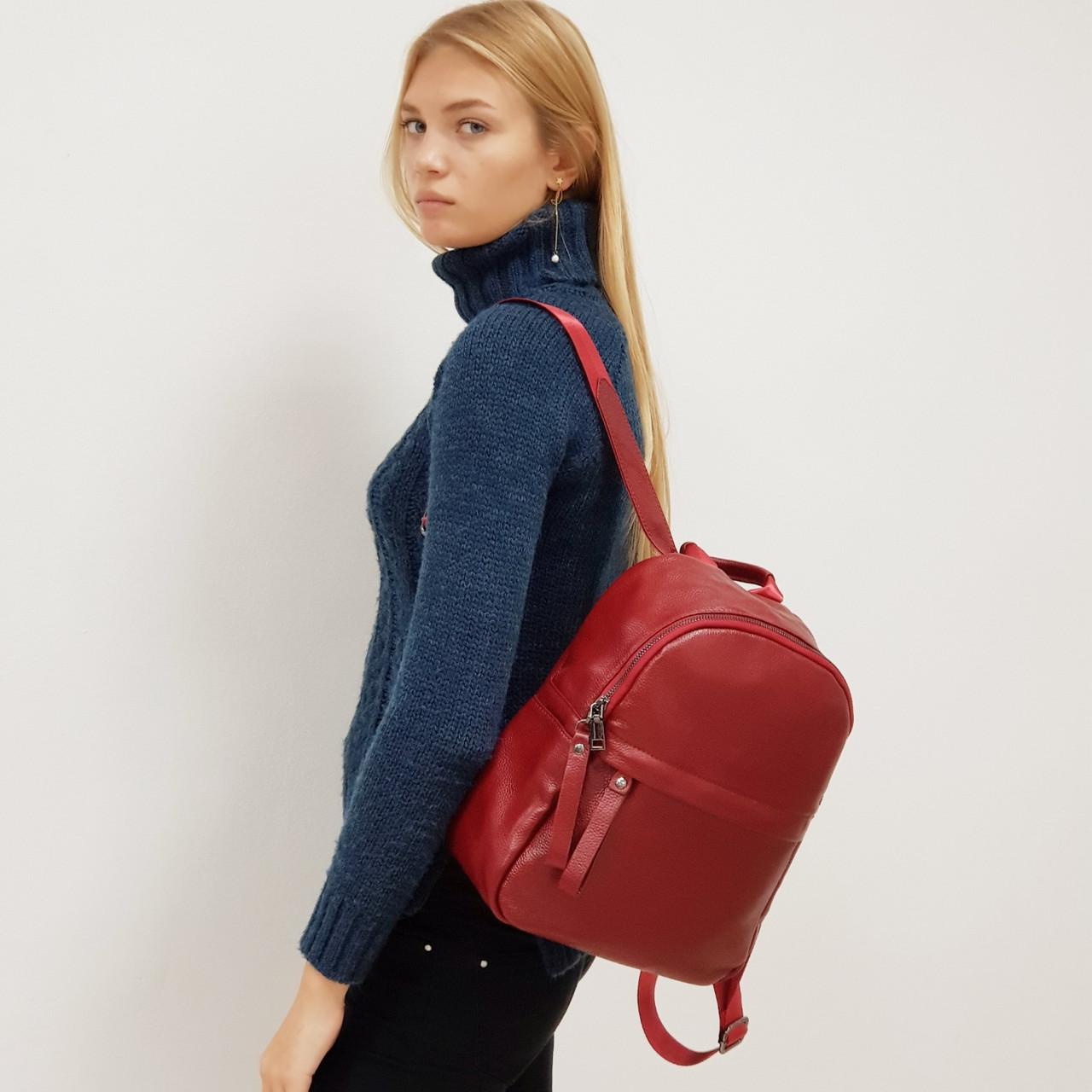 Рюкзак  женский из натуральной кожи городской  красный
