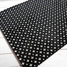 """Экокожа  с глиттерным узором """"ромбики"""", 30х20 см, цвет черный"""