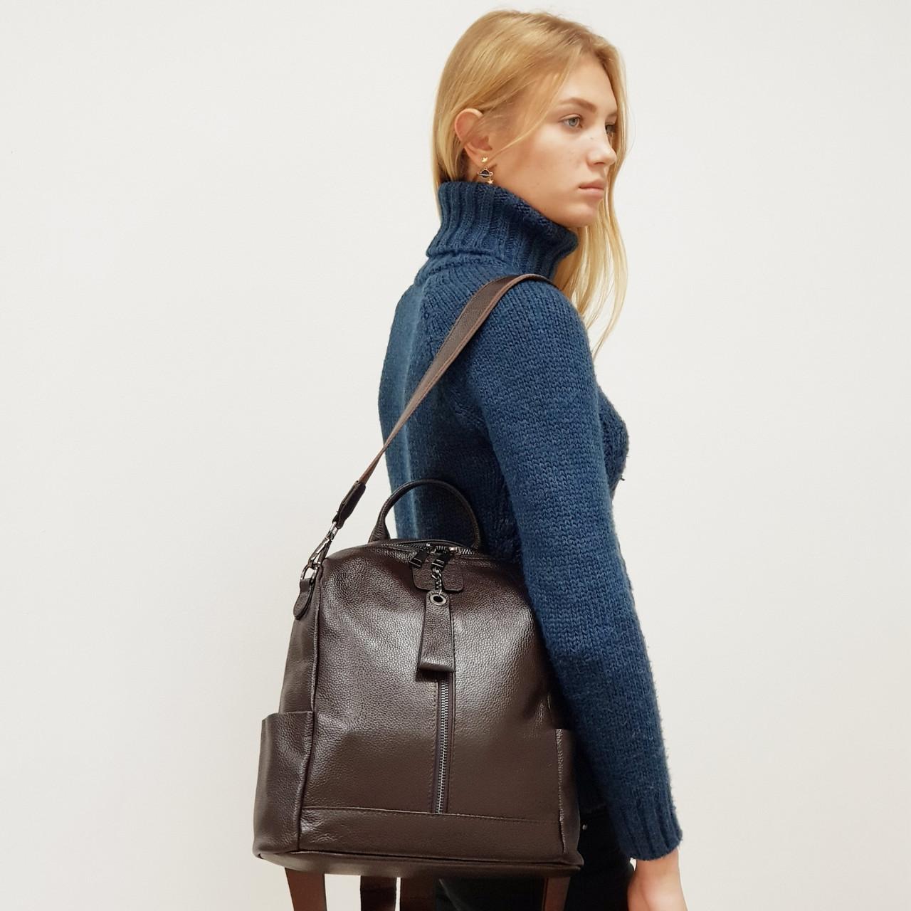 Рюкзак  женский кожаный коричневый