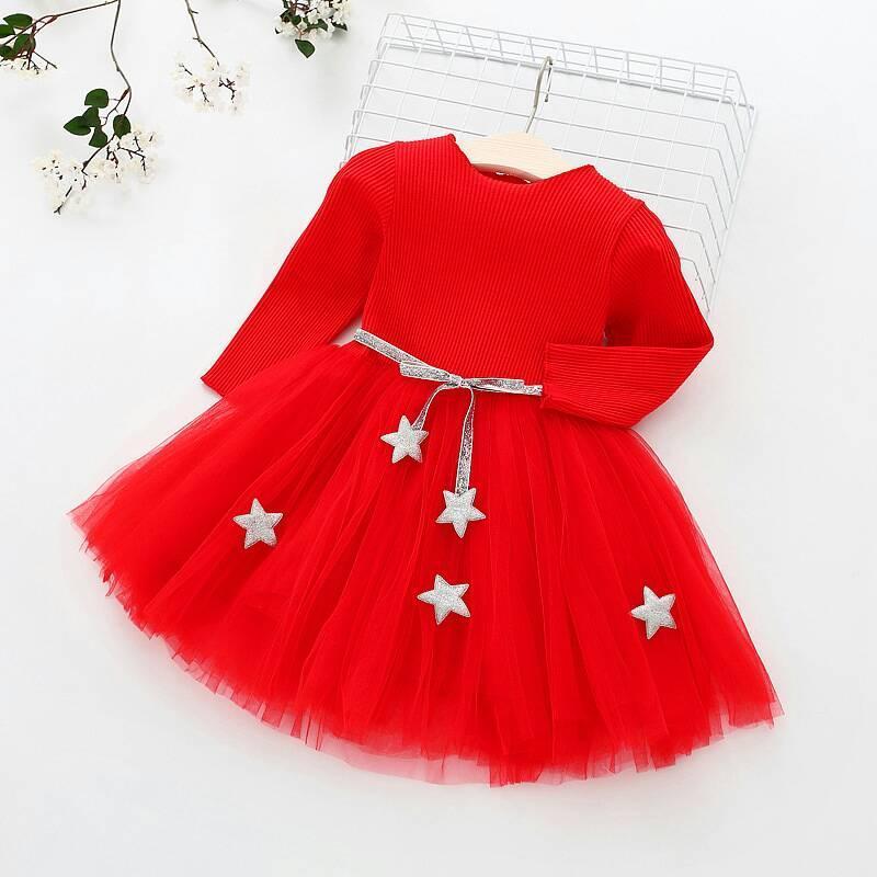 Платье нарядное детское на девочку длинный рукав красное 2 года