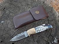 """Нож  складной из дамасской стали """"Птица""""  ручная работа .гравировка"""