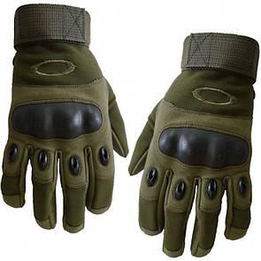 Тактические перчатки с пальцами и костями, полнопалые Oakley реплика (Airsoft) темно-зеленые.