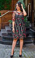 Красивое женское силуэтное платье из сетки с вышивкой 50, 52