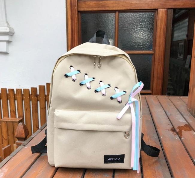 Рюкзак с лентами бежевый