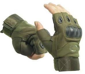 Тактические перчатки без пальцев с костями, Oakley реплика (Airsoft) Размер М темно-зеленые.