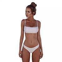 Женский белый раздельный купальник Бандо