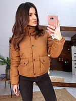Курточка женская. Коричневая женская курточка утепленная. Стильная женская курточка