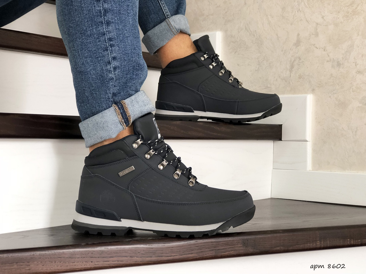 Мужские зимние ботинки Timberland,на меху,темно синие