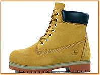 Зимние женские ботинки Timberland Brawn (Тимберленд, коричневые / желтые) без меха