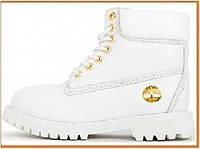 Зимние женские ботинки Timberland 6 Inch Premium White Gold (Тимберленд 6, белый) внутри мех овчина
