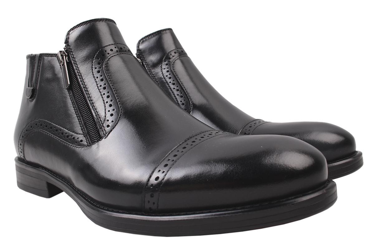 Ботинки мужские зимние Sensor натуральная кожа, цвет черный, размер 40-44