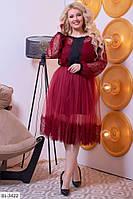 Батальное трикотажное платье с ресничкой и гипюром 60-64 размер  7088 - 7063