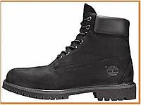 Зимние женские ботинки Timberland 6 Inch Premium Black (Тимберленд, черные) без меха