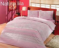 """Евро-комплект постельного белья """"Altinbasak""""Natura pink Ранфорс. Турция"""
