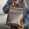 """Кожаный рюкзак-сумка (трансформер) с теснением под змеиную кожу """"Питон Silver"""""""