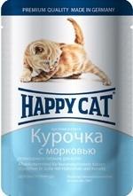 Happy cat кусочки в соусе для котят с курицей и морковью 100г
