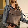 """Кожаный рюкзак-сумка (трансформер) с теснением под змеиную кожу """"Питон Bronze"""""""