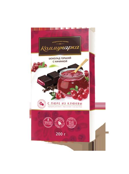 Шоколад «Комунарка» гіркий з начинкою з пюре з журавлини 200г з Білорусі