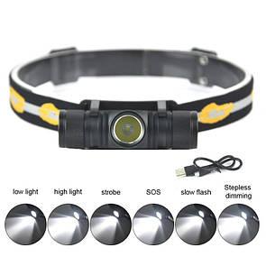 Налобный фонарик BORUiT D10 с аккумулятором 4000mAh от USB