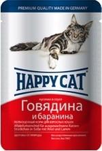 Happy cat кусочки в соусе с говядиной и бараниной 100г